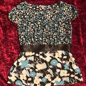 Apt. 9 blouse with satin sash aqua black floral